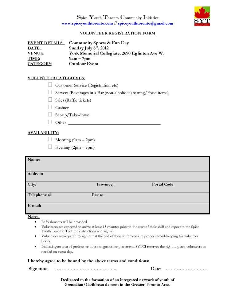 Community Sports & Funday 2012.SYTCI.Volunteer Registration Forml
