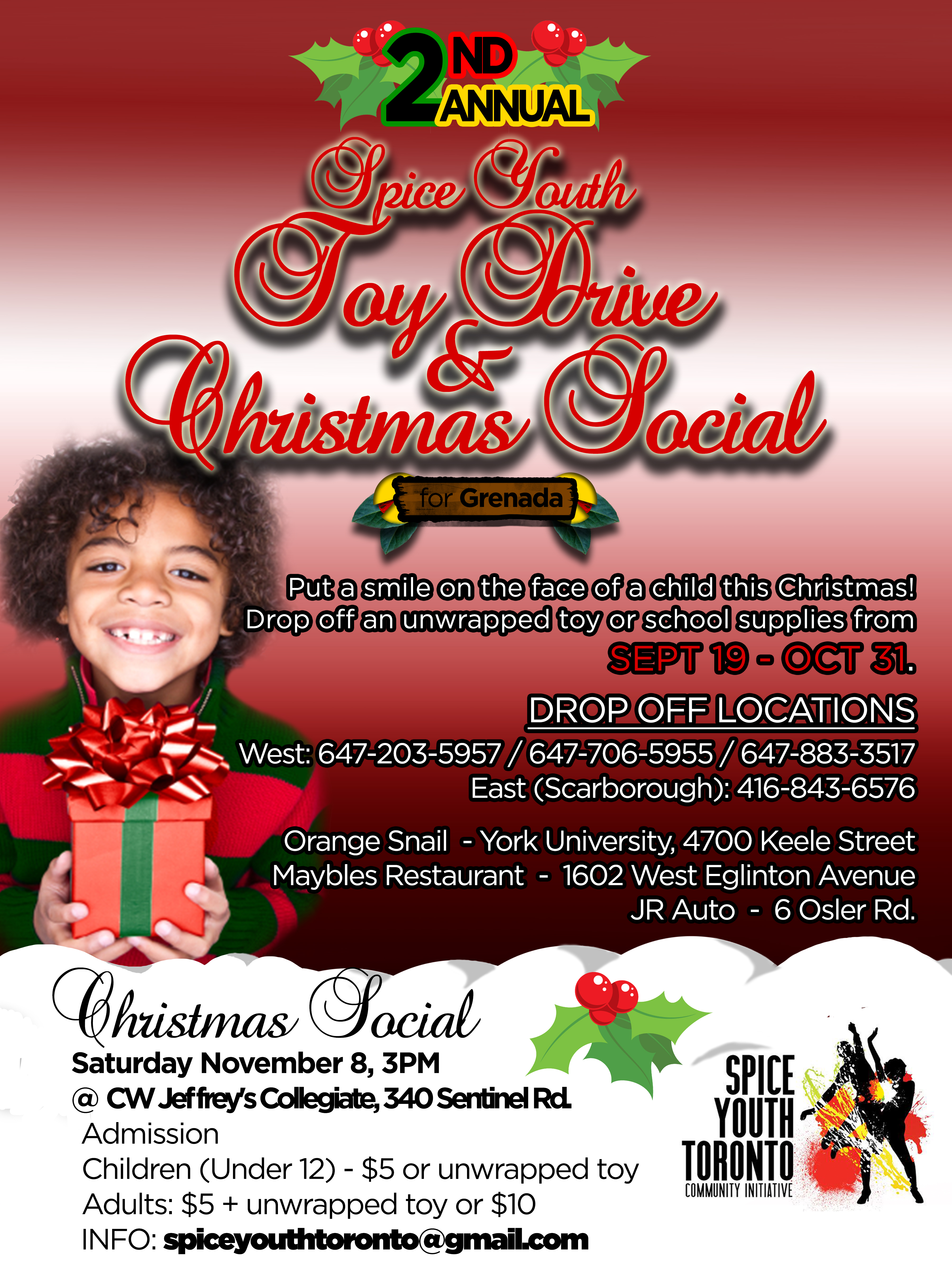 spice youth toy book drive for spice youth toronto syt toy book drive flyer w social details
